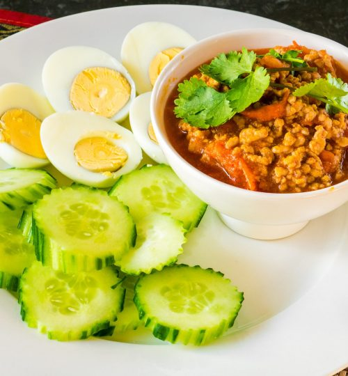 Nam Prik Ong - Northern Thai disk with mince pork and red chilli paste, used as side disk or starter